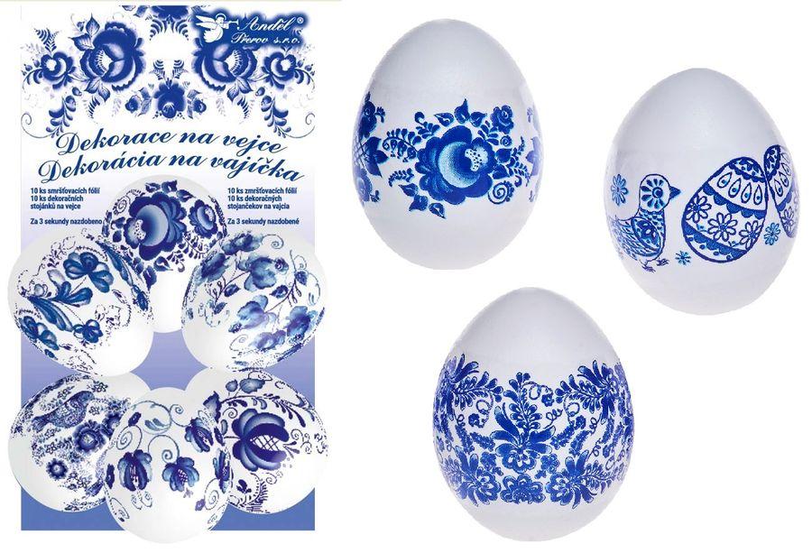 dekorace vajec Modrá 10ks+10stojánků, smršť.fólie