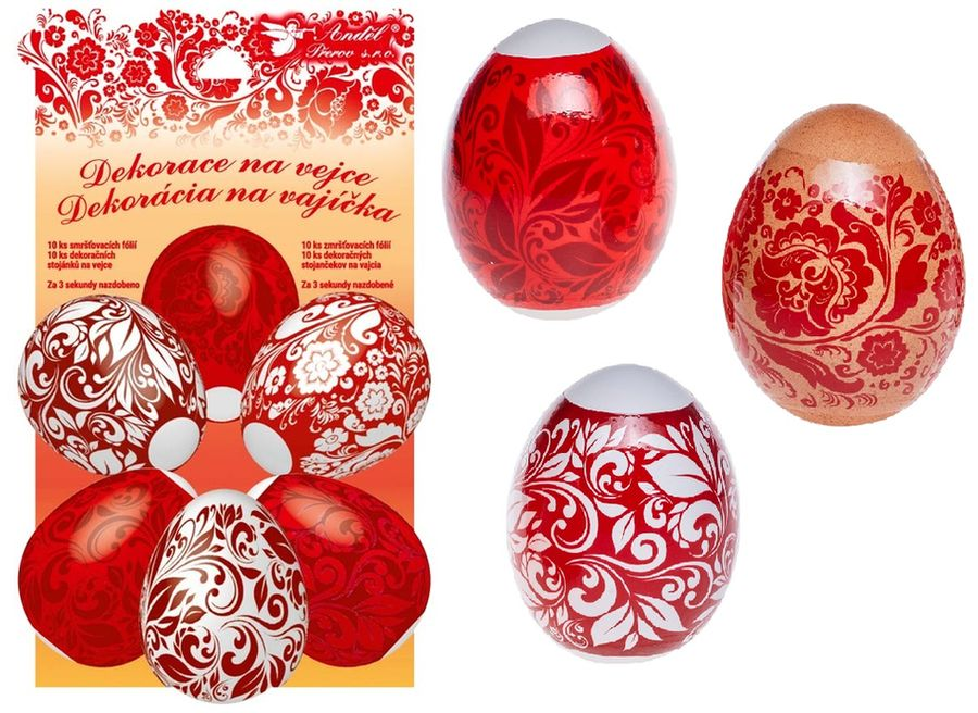 dekorace vajec Červená 10ks+10stojánků, smršť.fólie