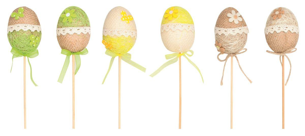dekorace Vajíčko z juty 6cm, zápich