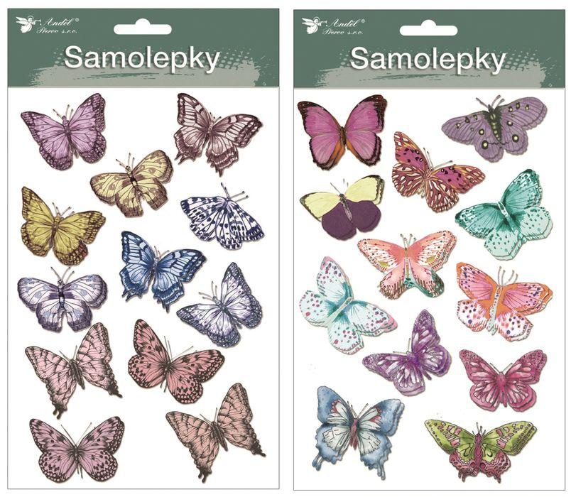 dekorace Motýli dvouvrství s glitry 13x19cm, samolep.