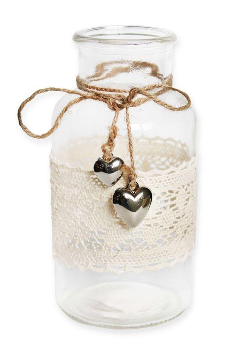 váza d8,5cm x 16,5cm, Natural, sklo/textil