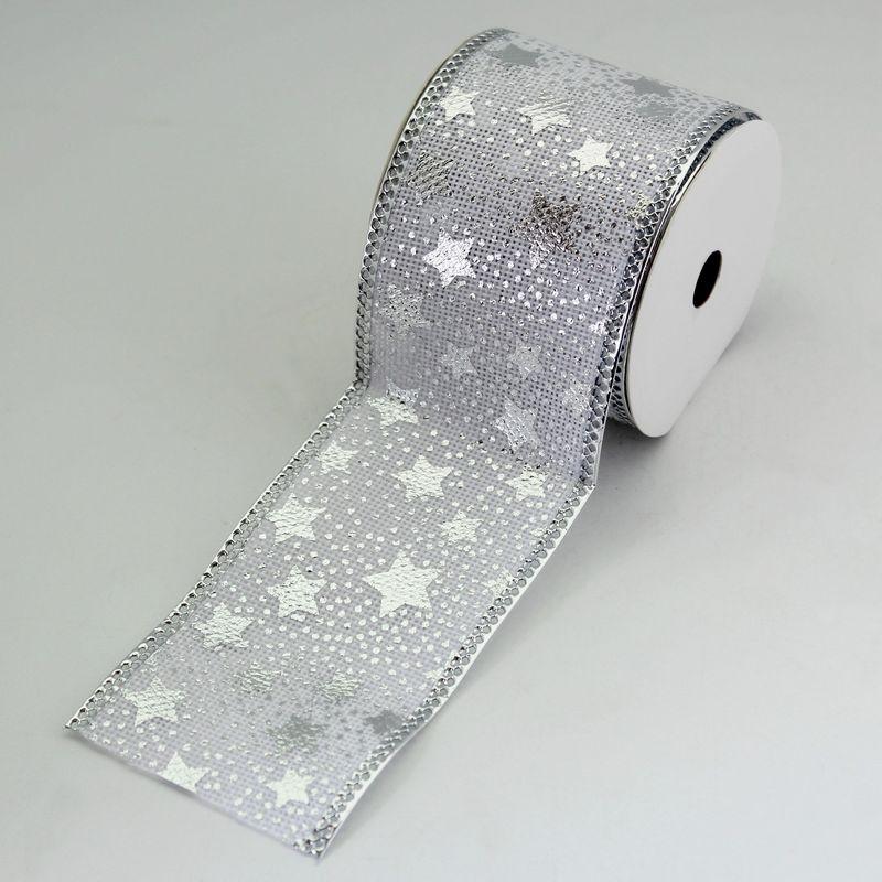 stuha hvězdy juta š.6,3cm/5m bílá/stříbrná