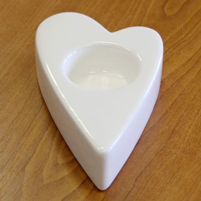 svícen SRDCE bílé, 13,3x7,4x3,1cm, porcelán