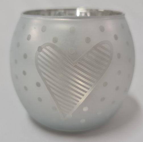 svícen koule 8x8x7cm, SRDCE bílé, sklo