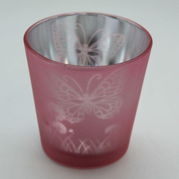 svícen kónický 7,3x7,3x8cm, MOTÝL růžový, sklo