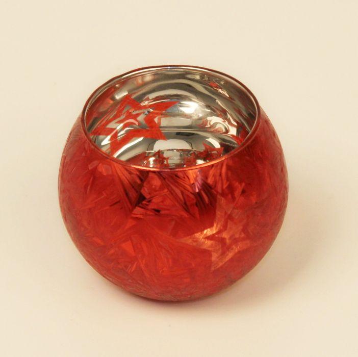svícen d 7,5/v. 8,5cm, koule s hvězdou, červený, sklo