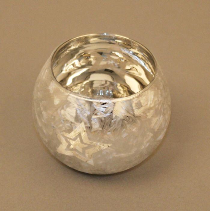 svícen d 7,5/v. 8,5cm, koule s hvězdou, bílý, sklo