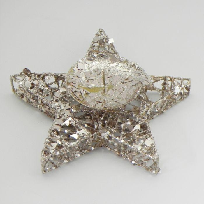 svícen hvězda zlatá d20x2,5cm, proutí