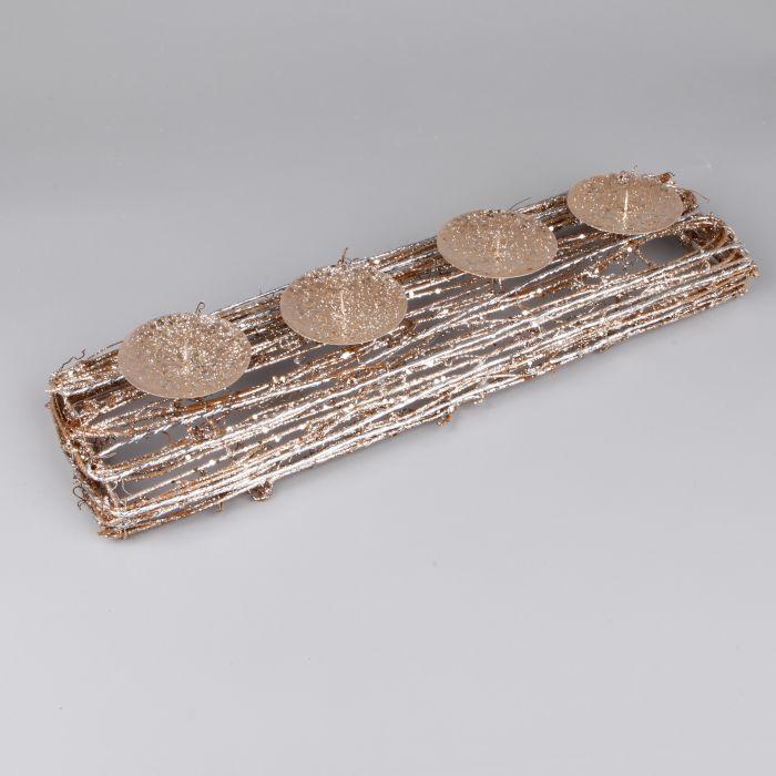 svícen 40cm adventní, bronz glitter, proutí