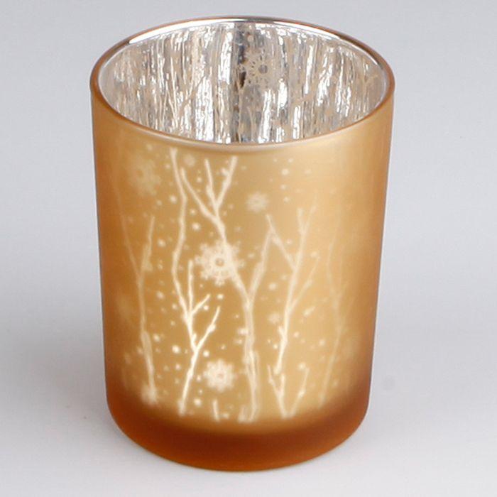 svícen d7,3/v. 8,0cm, válec zlatý, sklo