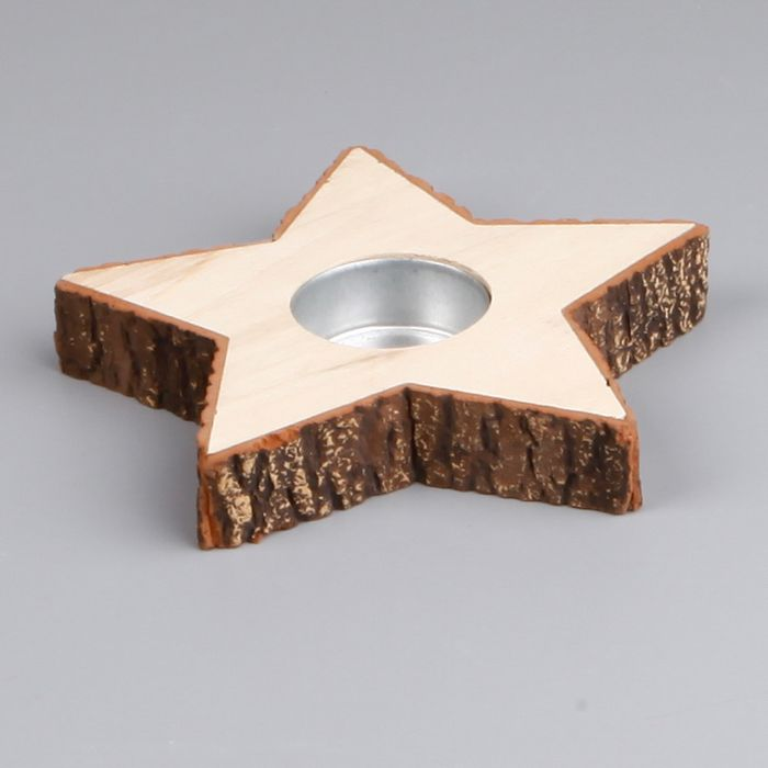 svícen hvězda 15cm, natural dřevo