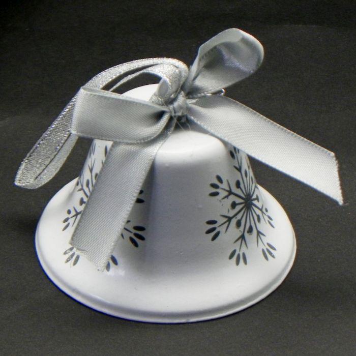 zvonek s vločkou d8x7cm, bílý/šedý, kov