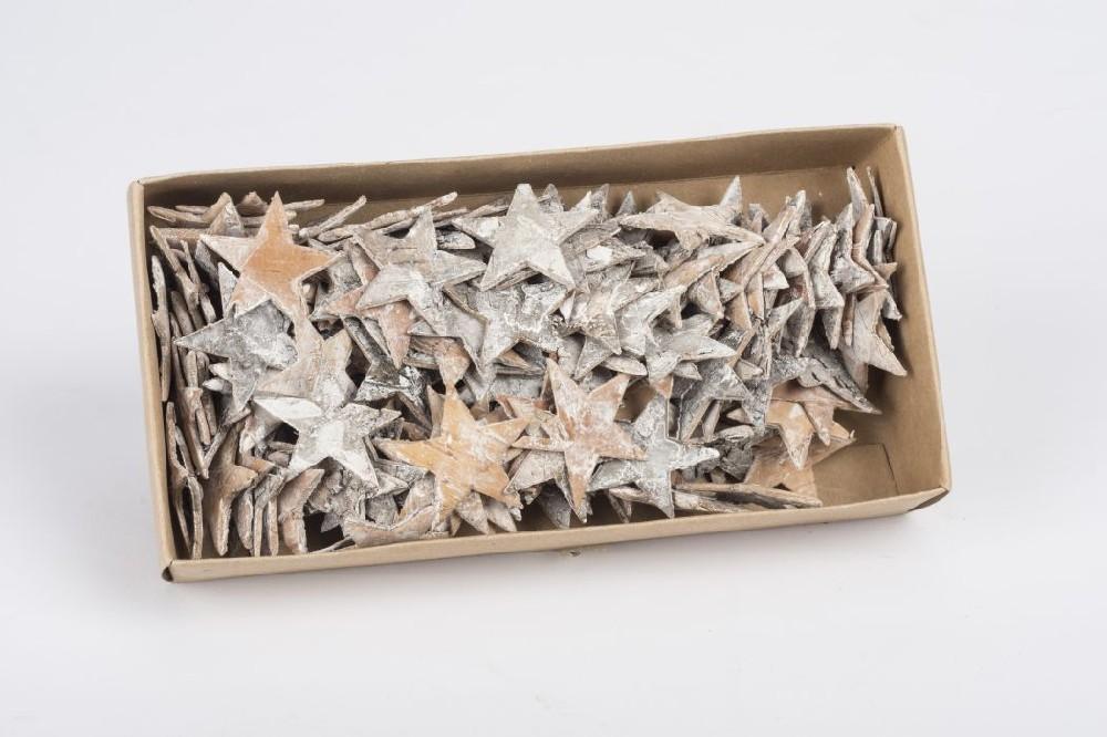 dekorace-150ks-hvězdy d4cm Whitewashed, bříza