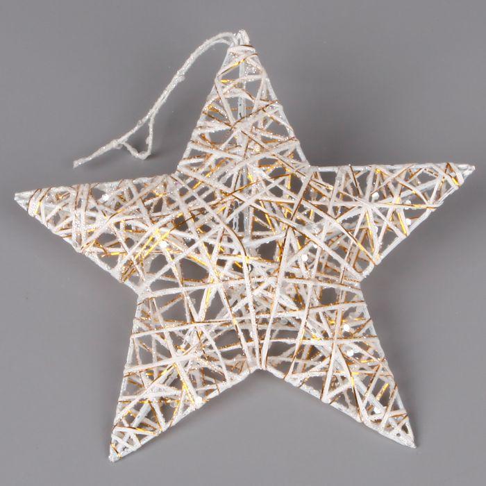 dekorace hvězda 10cm, bílá/zl., provaz.závěs