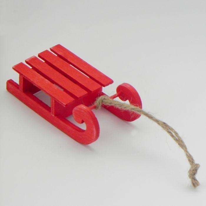 dekorace-sáňky červené 13,2x6,0x3,5cm, závěs, dřevo
