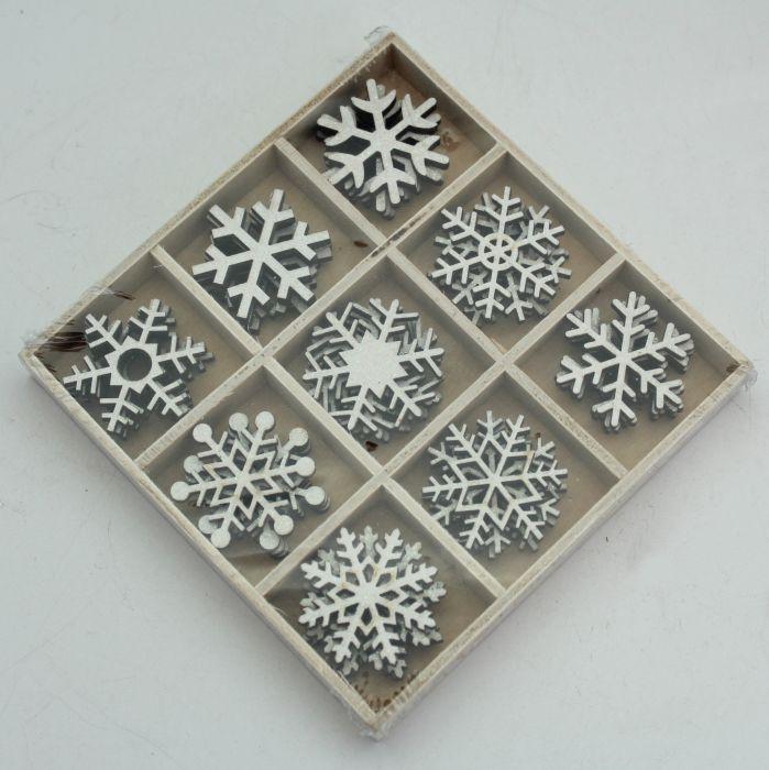 dekorace-36ks-vločky bílé, kazeta, dřevo