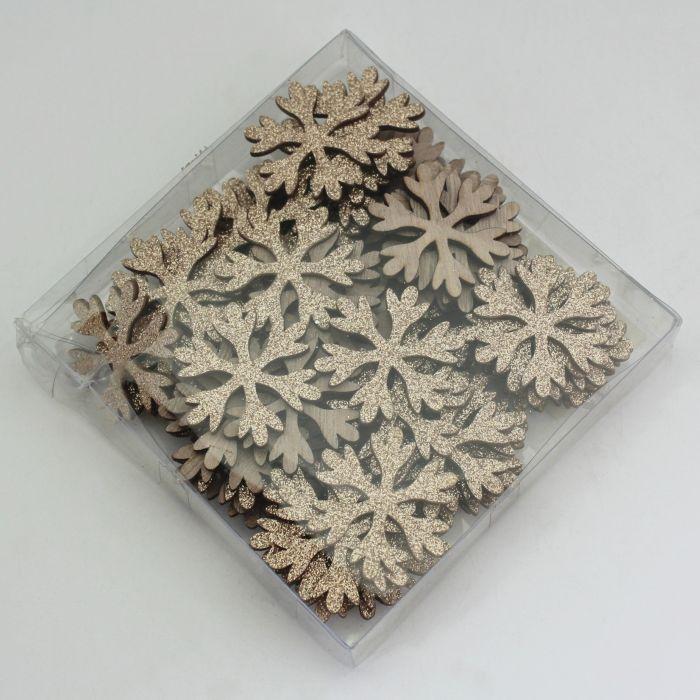 dekorace-36ks-vločka d3,8cm, přízdoba, natural dřevo