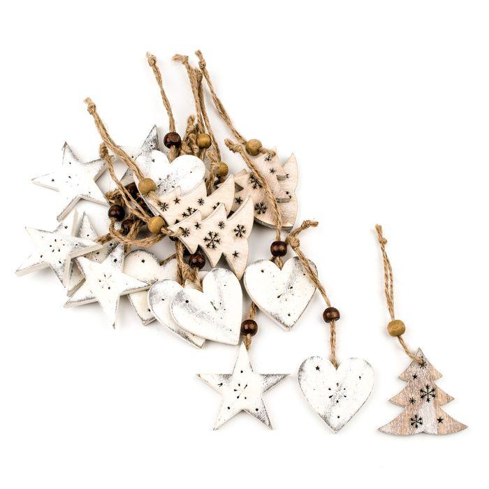 dekorace-hvězda,srdce,stromek-závěs, dřevo