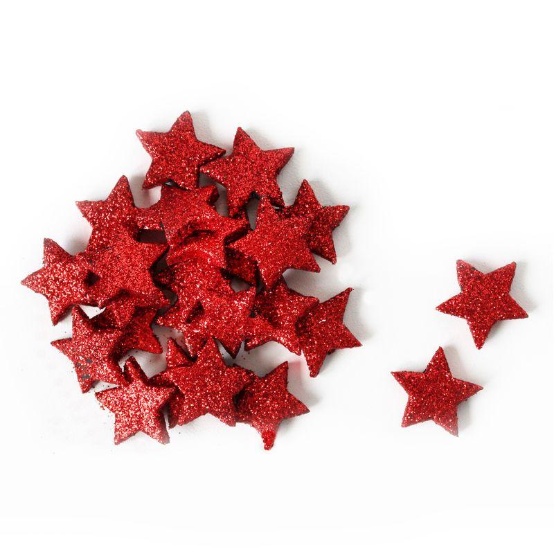 dekorace-hvězdičky, pr.2cm S/24 červená