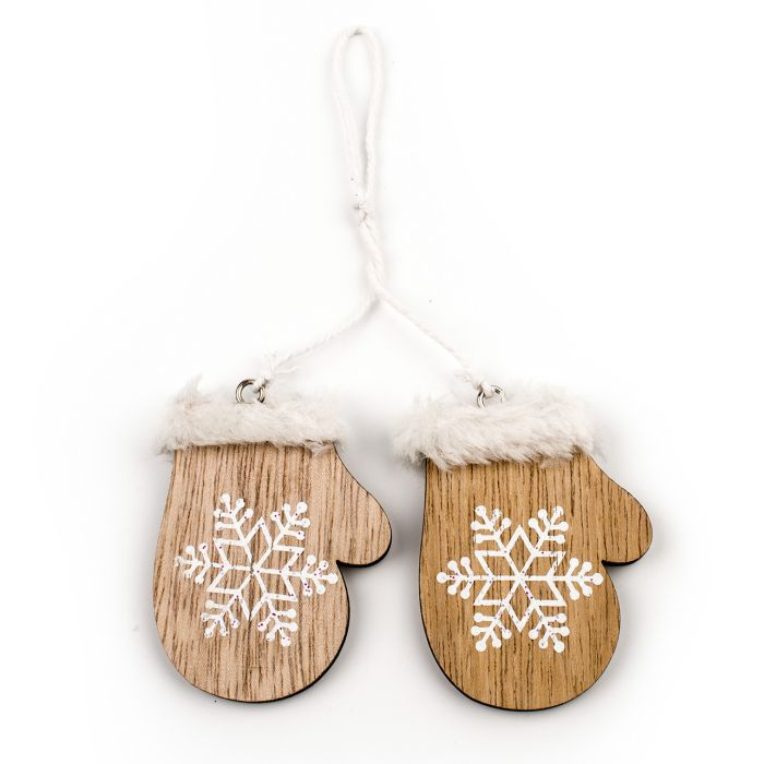dekorace-rukavice 5cm, natural, dřevo