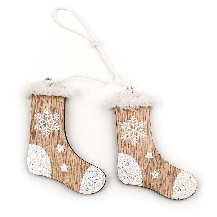 dekorace-ponožky 8cm, natural, dřevo