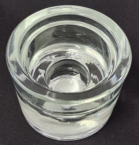 svícen 2v1 d4xd2x4,5cm, čaj.i kónická svíčka, sklo