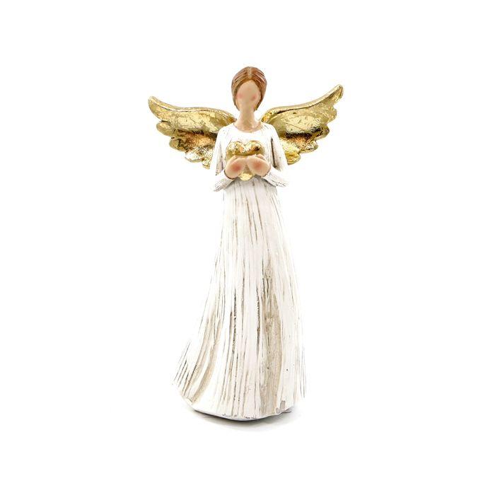 anděl 14cm , keramika bílá/zlatá
