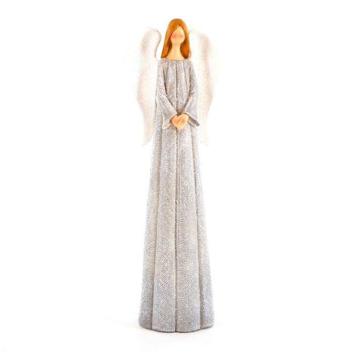 anděl 27cm šedý, polyresin