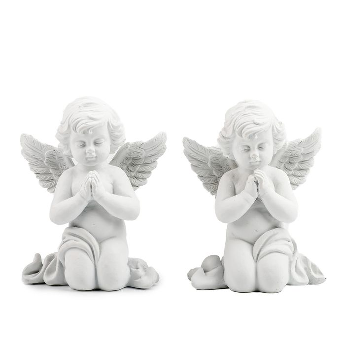 anděl  8cm bílý, sádra