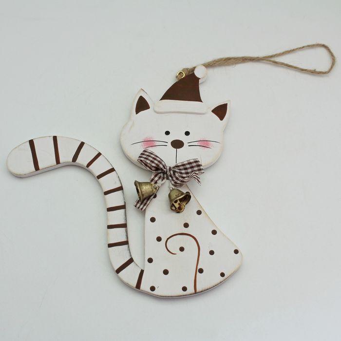 kočka 10cm, závěs dřevo/juta