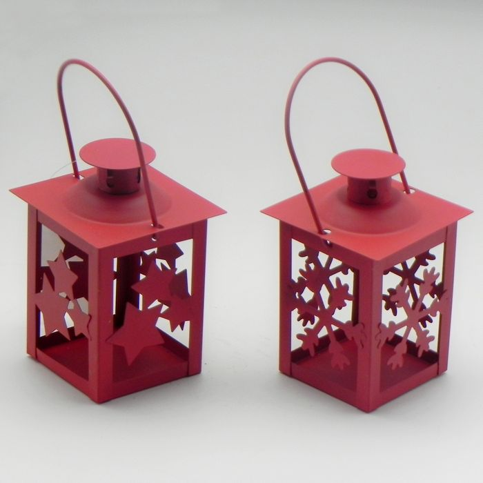 lucerna 12cm na svíčku, červená, kov