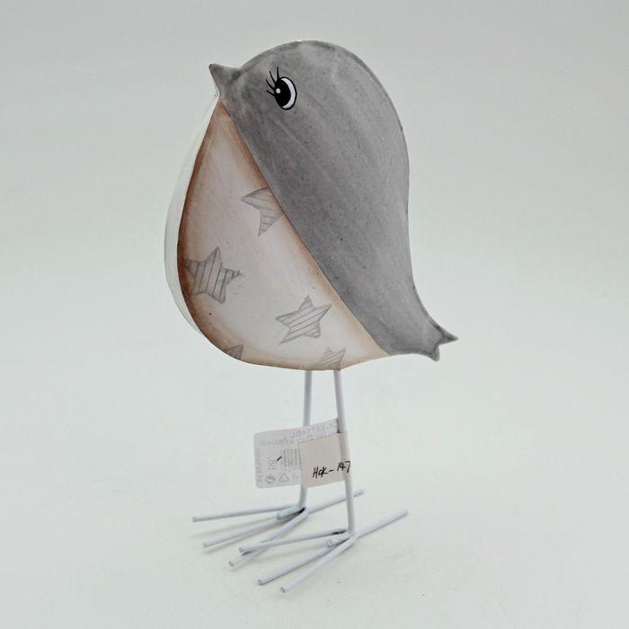 ptáček 15cm bílá/šedá, kov