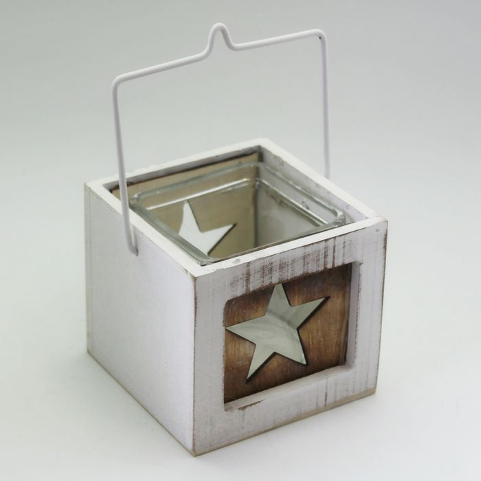 svícen  8,5cm, patina bílá,  dřevo/sklo/kov