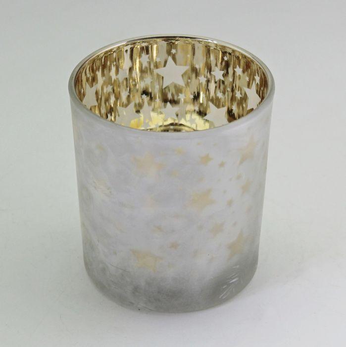 svícen d10, v12,5cm bílá/zlatá, sklo