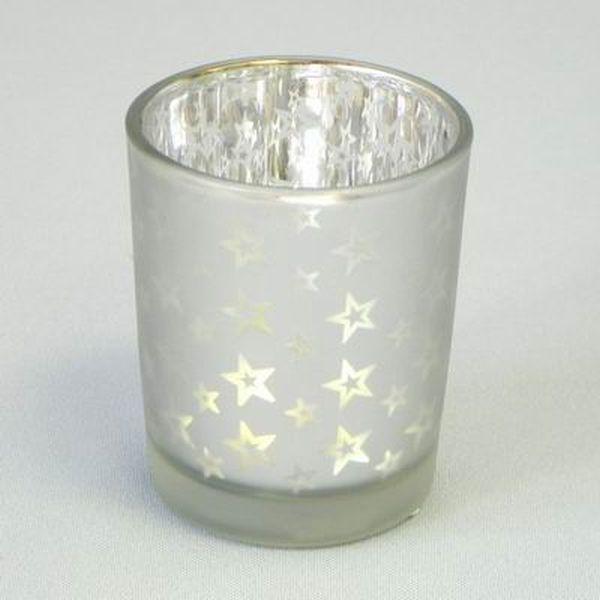 svícen d 5,5, v.7cm stříbrná, vánoč., sklo