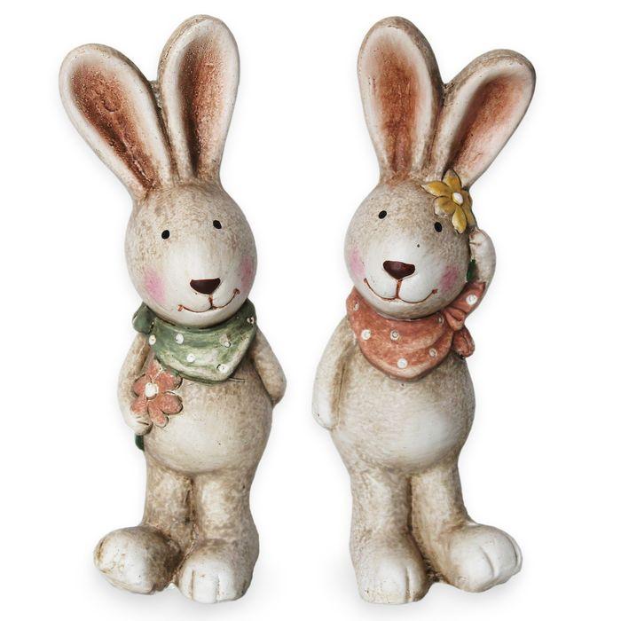 dekorace Zajíc 14,5cm hnědý, keramika