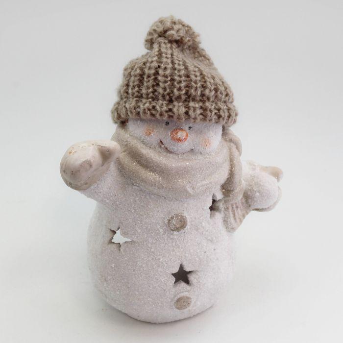 sněhulák 16cm bílý na svíčku, keramika