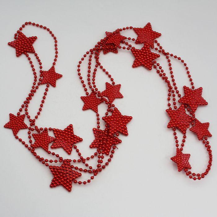 řetěz  2,7m, hvězdičky 3-4cm, PVC červený