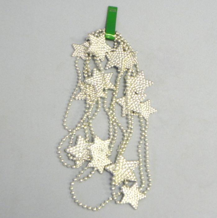 řetěz  2,7m, hvězdičky 3-4cm, PVC stříbrný