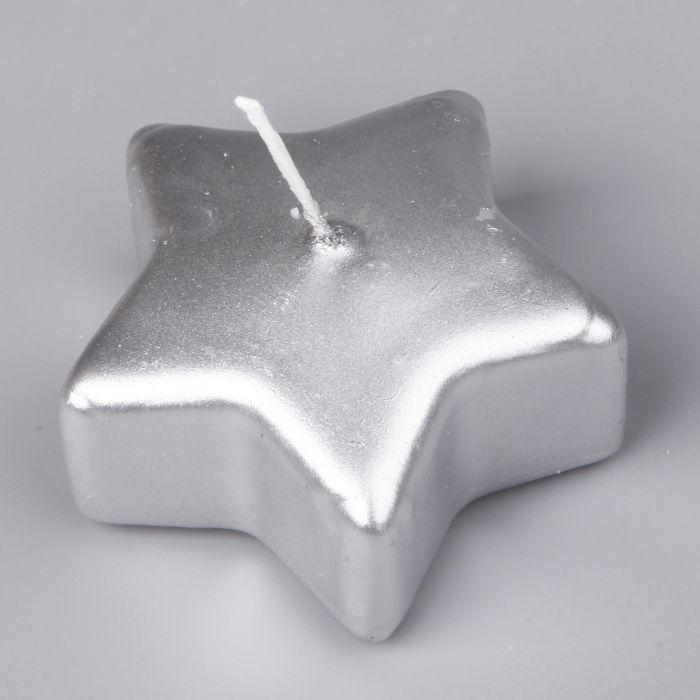 svíčka 4ks 70x30mm, hvězdička stříbrná, plovoucí