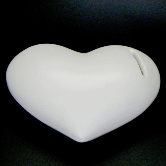 pokladnička SRDCE 14,5x11,5x5cm, bílé,otvír., keramika