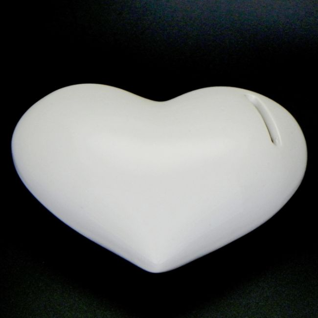 pokladnička SRDCE 14,5x11,5x5cm, bílé, keramika