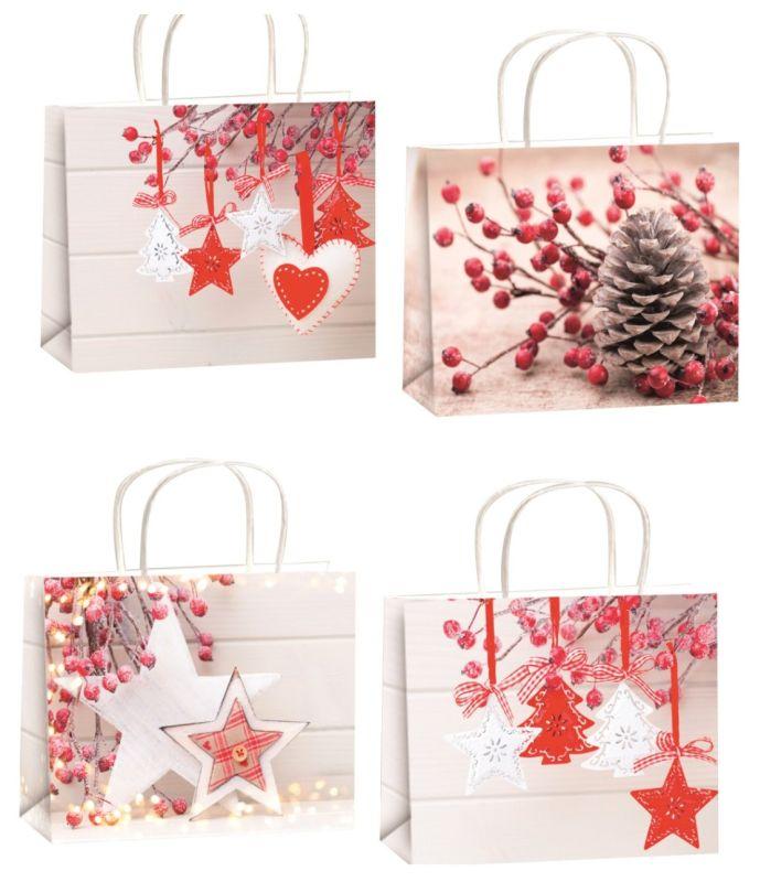 taška dárková L, VÁNOČNÍ, 32x26x17,5cm, Glitter