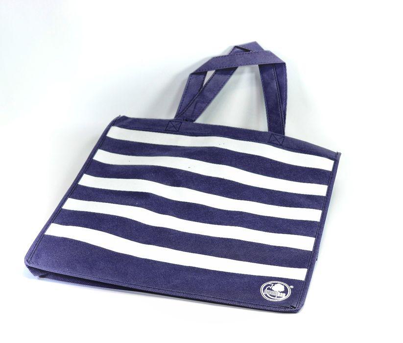 taška nákup. 25l, modrá PRUHY 34x36x22cm, textil