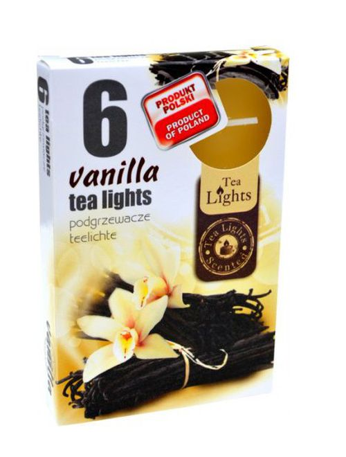 svíčka  6ks čajová, VANILLA, d3,8x1,5cm