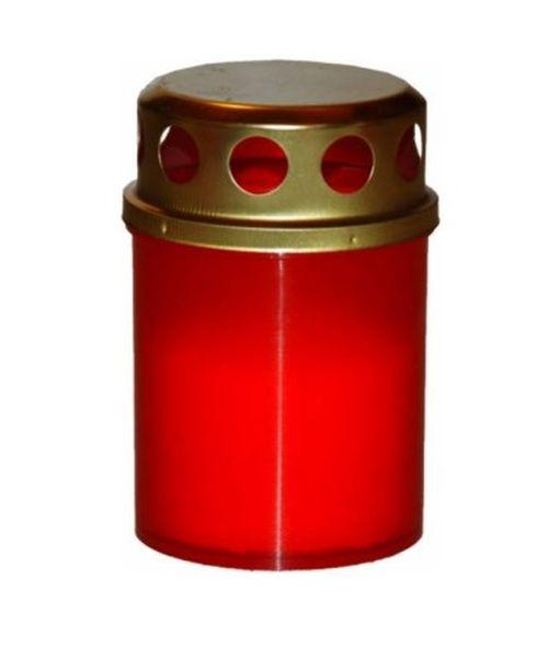 svíčka  4ks LA BD 40g, červená+kov.víčko, hřbitovní