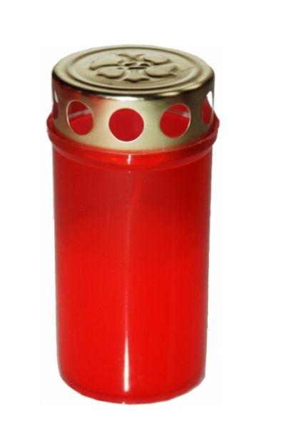 svíčka  1ks LA BV 80g, červená+kov.víčko, hřbit.