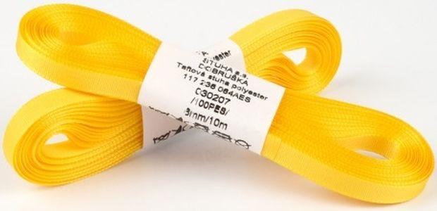 stuha text.10m/6mm žlutá TAFTOVÁ