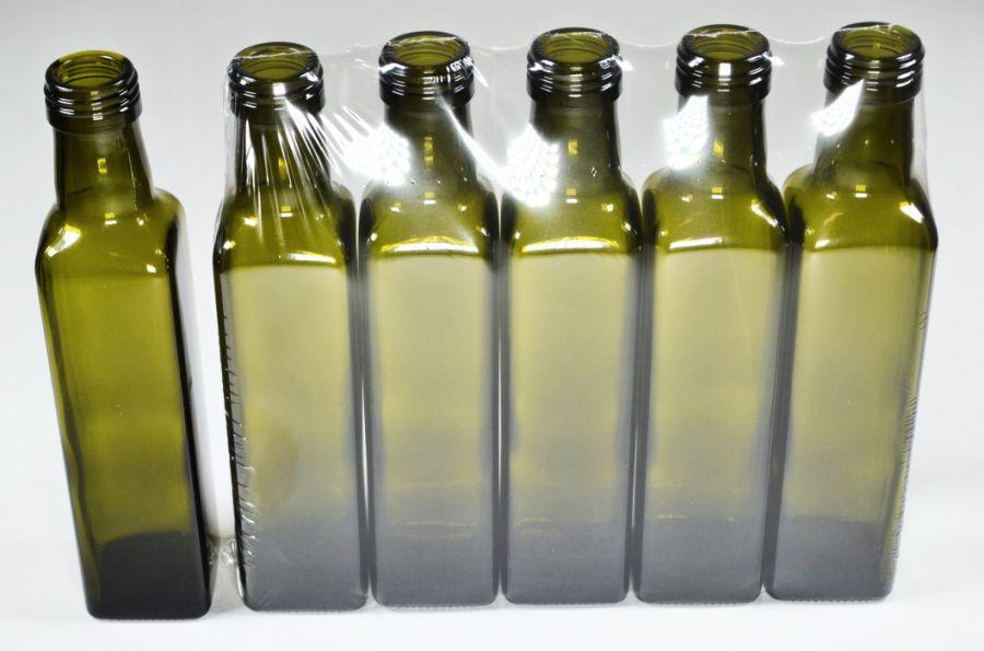 láhev 0,25l MARASCA- 5ks-oliva, šroubení SOUDEK,sklo