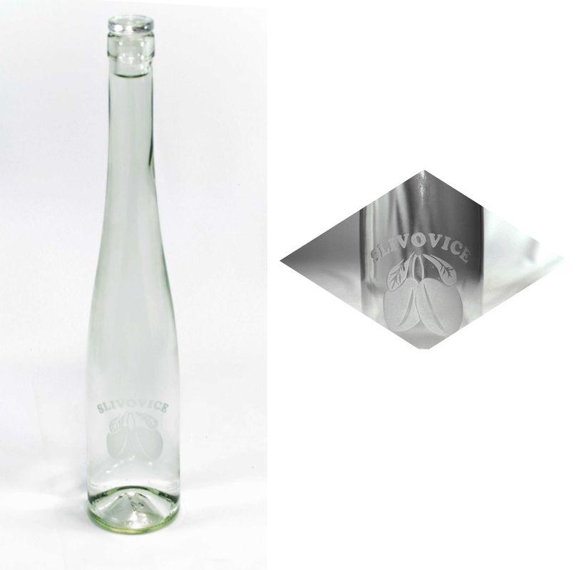 láhev 0,5l SLIVOVICE(belvedere)+skl.zátka, písk.sklo